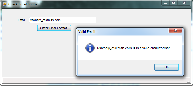 How to: Check that an email is in a valid format using Regular Expressions and C#